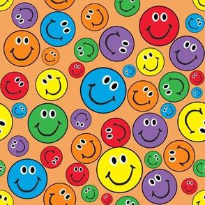 "8"" Rainbow Smiley Faces Pattern Orange"