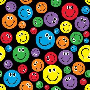 "8"" Rainbow Smiley Faces Pattern Black"
