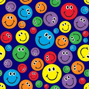 """8"""" Rainbow Smiley Faces Pattern Blue"""