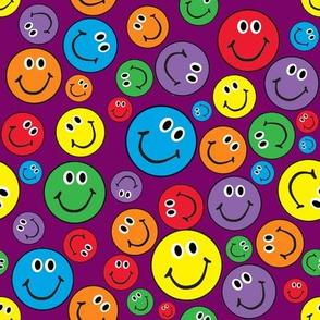 "8"" Rainbow Smiley Faces Pattern Purple"