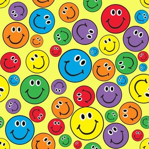 """8"""" Rainbow Smiley Faces Pattern Yellow"""