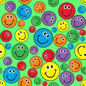 """8"""" Rainbow Smiley Faces Pattern Green"""