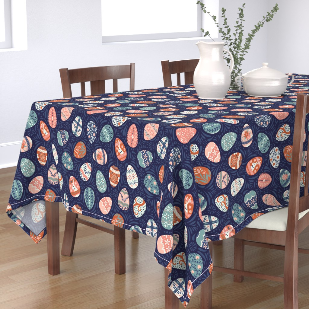 Bantam Rectangular Tablecloth featuring Ornate Easter Eggs in Blue + Pink by latheandquill