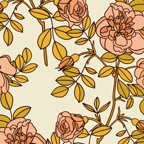 Climbing roses in pink and gold