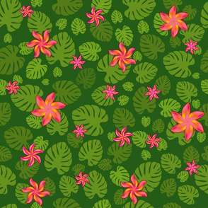 pattern with tropical oasis