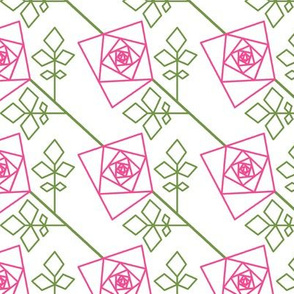 The Geometry of Roses - pink outlines