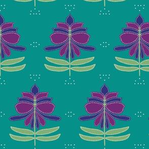 Floral Batik Teal (Large Scale)