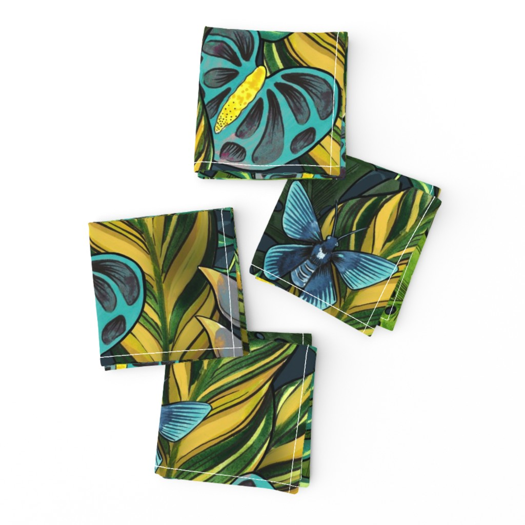 Frizzle Cocktail Napkins featuring Tropicana Blues by washburnart