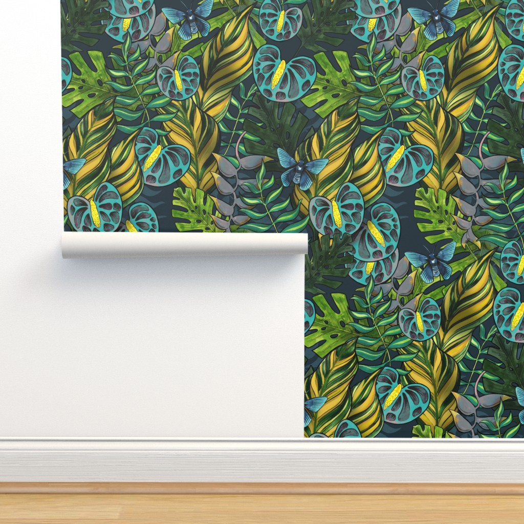 Isobar Durable Wallpaper featuring Tropicana Blues by washburnart
