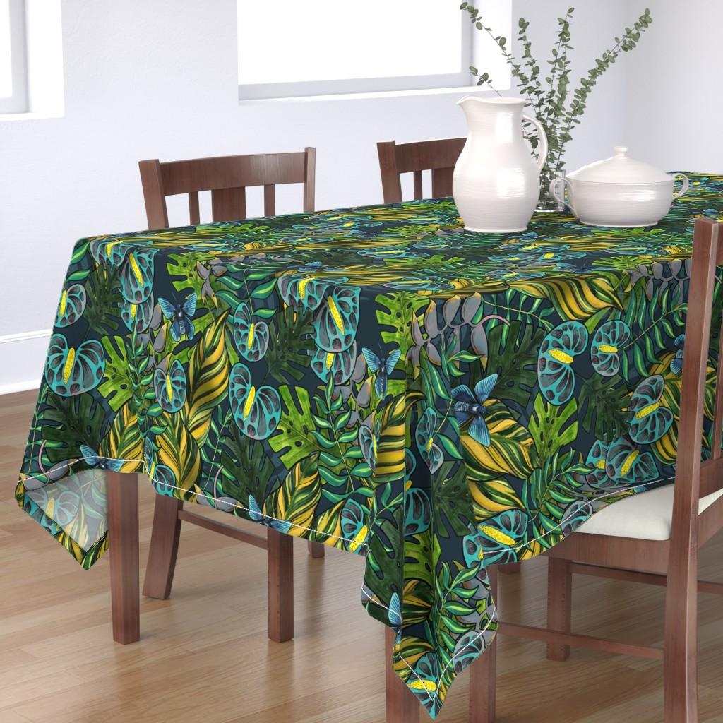Bantam Rectangular Tablecloth featuring Tropicana Blues by washburnart