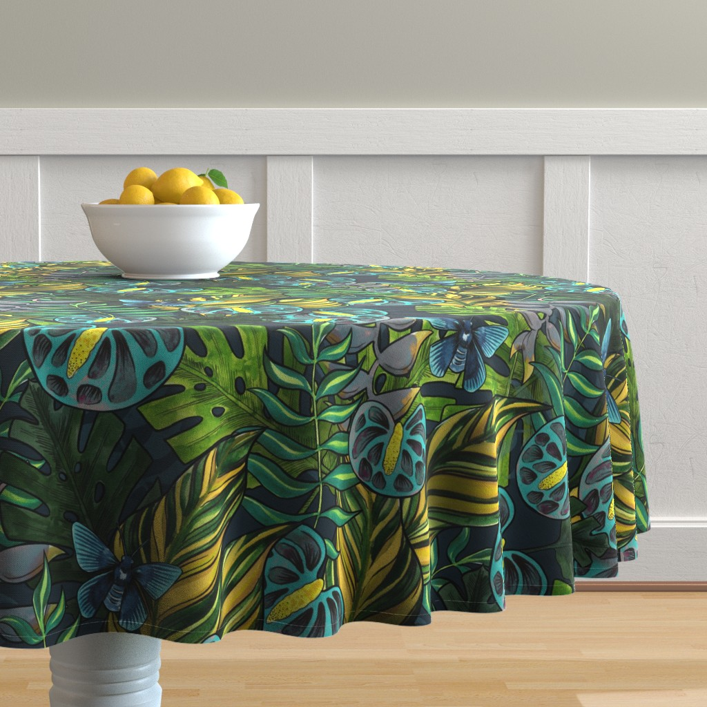 Malay Round Tablecloth featuring Tropicana Blues by washburnart