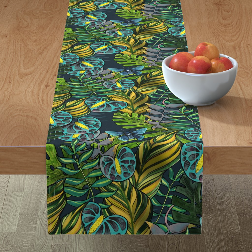 Minorca Table Runner featuring Tropicana Blues by washburnart