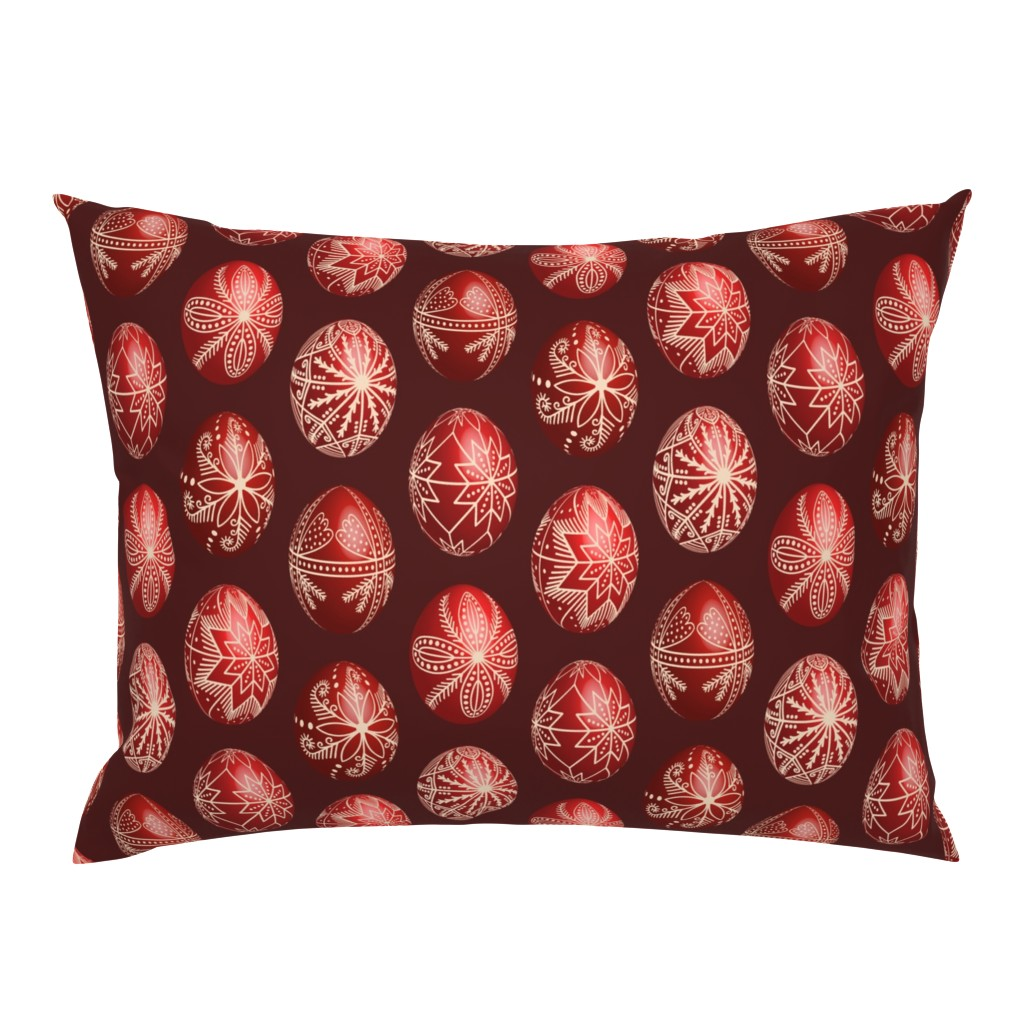 Campine Pillow Sham featuring Realistic traditional Romanian red dyed eggs pysanka fabric by danadu