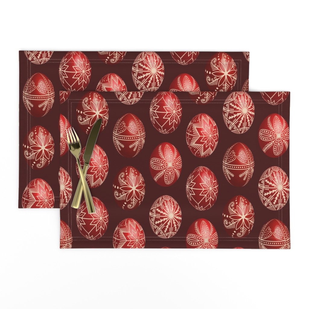 Lamona Cloth Placemats featuring Realistic traditional Romanian red dyed eggs pysanka fabric by danadu