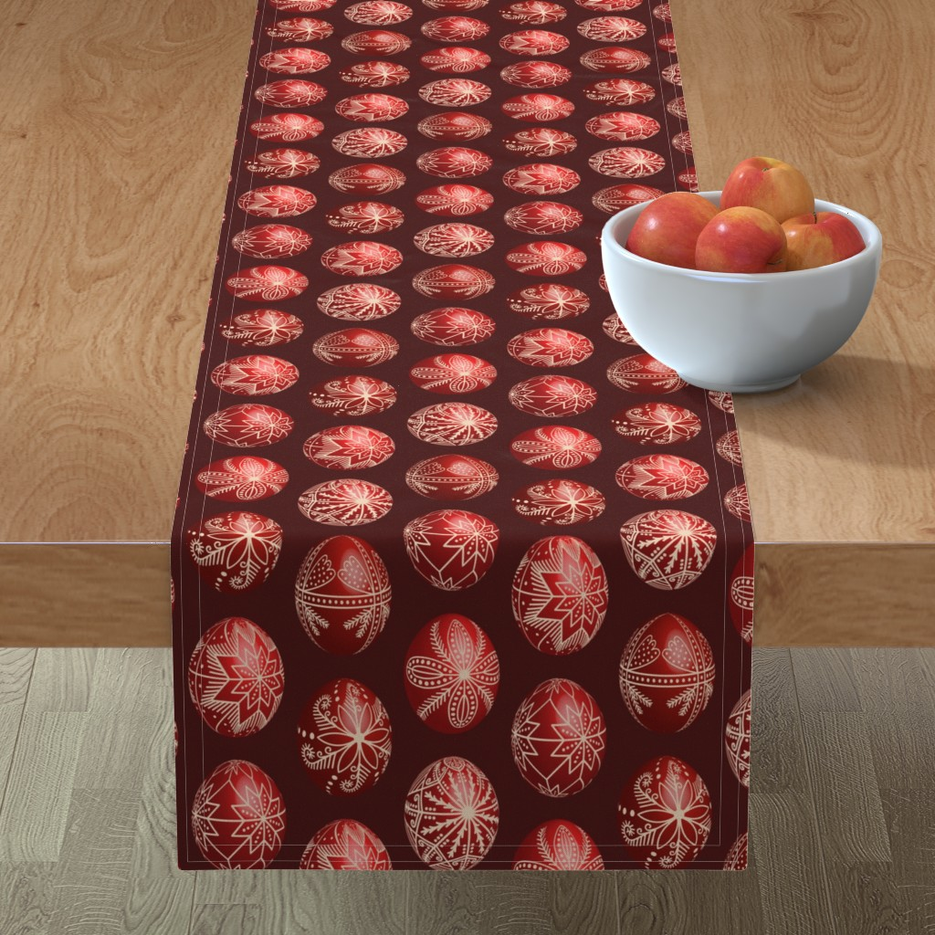 Minorca Table Runner featuring Realistic traditional Romanian red dyed eggs pysanka fabric by danadu