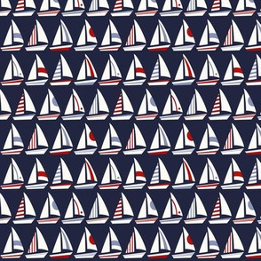 Little Sailboats and Triangles Red White Blue