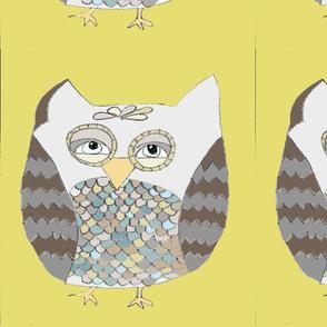 owl pillow {6 on a yard} mustard
