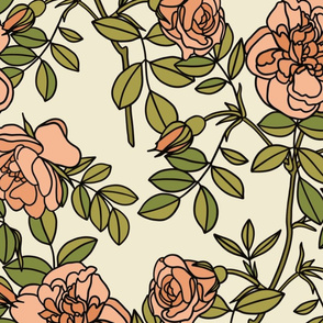 Climbing roses in coral pink