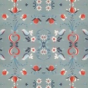 Blue bird red placemats