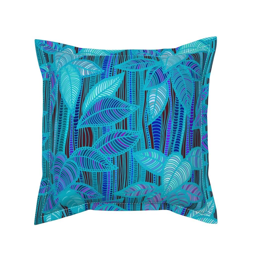 Serama Throw Pillow featuring Foliage - Turquoise Bamboo - Design Challenge by vagabond_folk_art