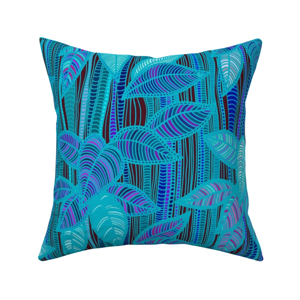 Catalan Throw Pillow featuring Turquoise Bamboo - Design Challenge by vagabond_folk_art