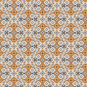 Native American Aztec Fall Pattern Orange Gray