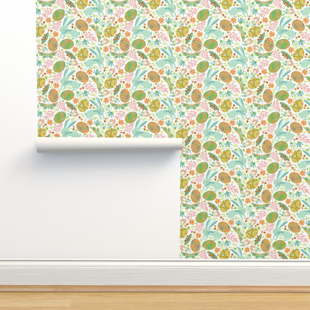 Isobar Durable Wallpaper featuring Pysanky egg hunt with spring bunnies by cjldesigns