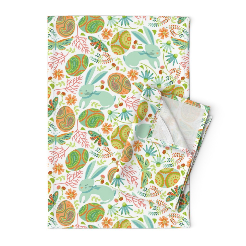 Orpington Tea Towels featuring Pysanky egg hunt with spring bunnies by cjldesigns