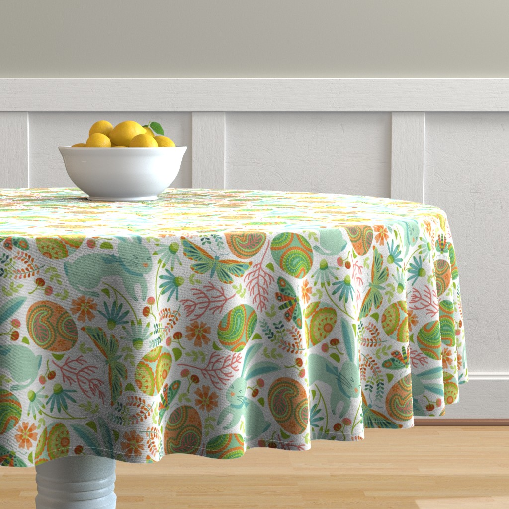 Malay Round Tablecloth featuring Pysanky egg hunt with spring bunnies by cjldesigns