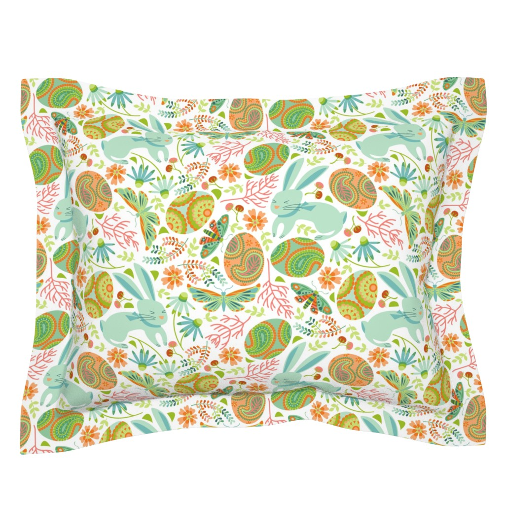 Sebright Pillow Sham featuring Pysanky egg hunt with spring bunnies by cjldesigns