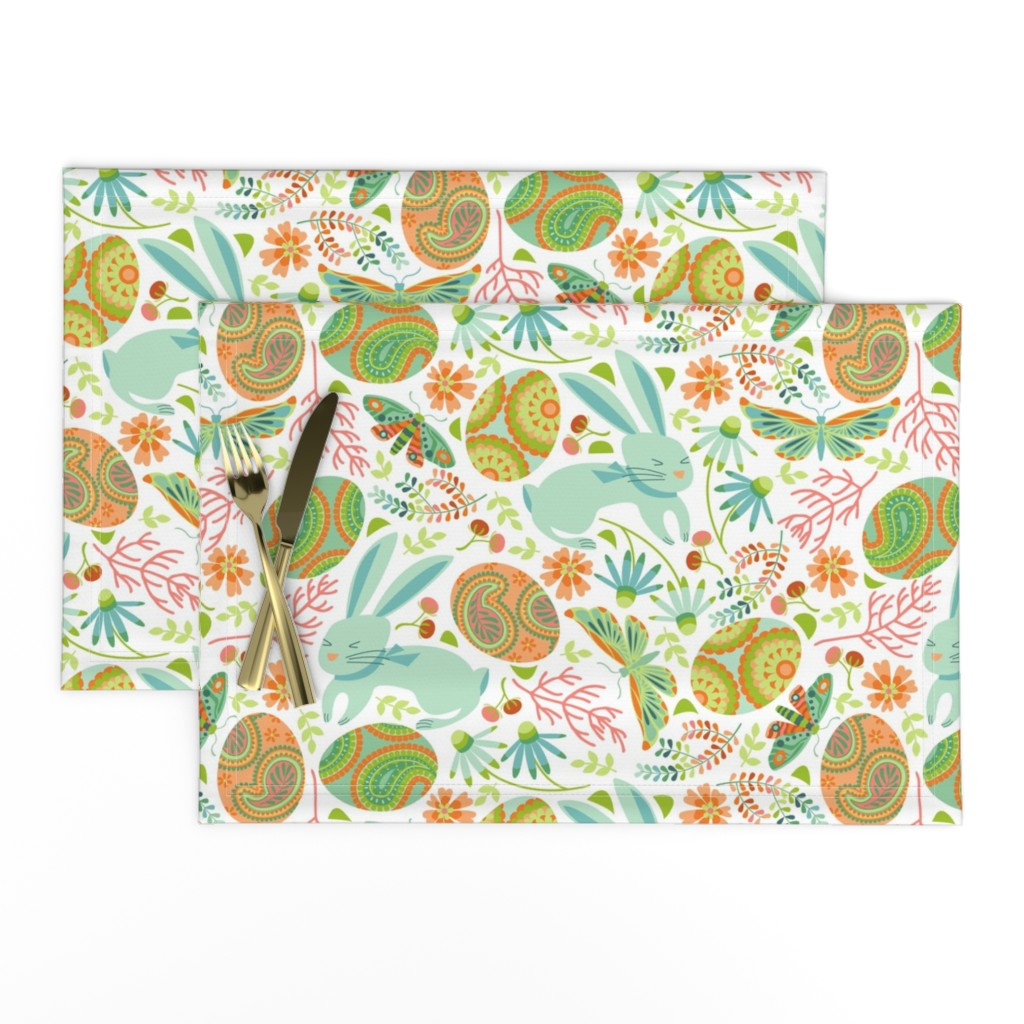 Lamona Cloth Placemats featuring Pysanky egg hunt with spring bunnies by cjldesigns