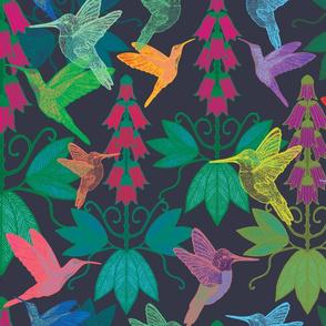 hummingbirds and foxgloves