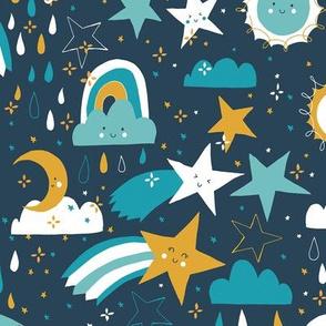 Shooting stars earthy - navy blue
