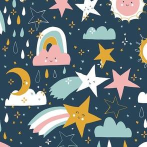 Shooting stars earthy - navy pink