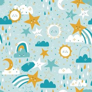 Shooting stars earthy - blue tones
