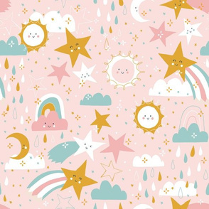 Shooting stars earthy - pink tones