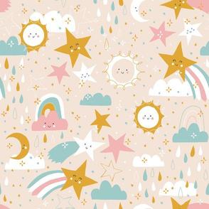 Shooting stars earthy - sandy pink