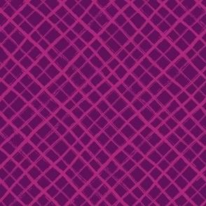 Diagonal Check Hand Drawn Lines / Purple