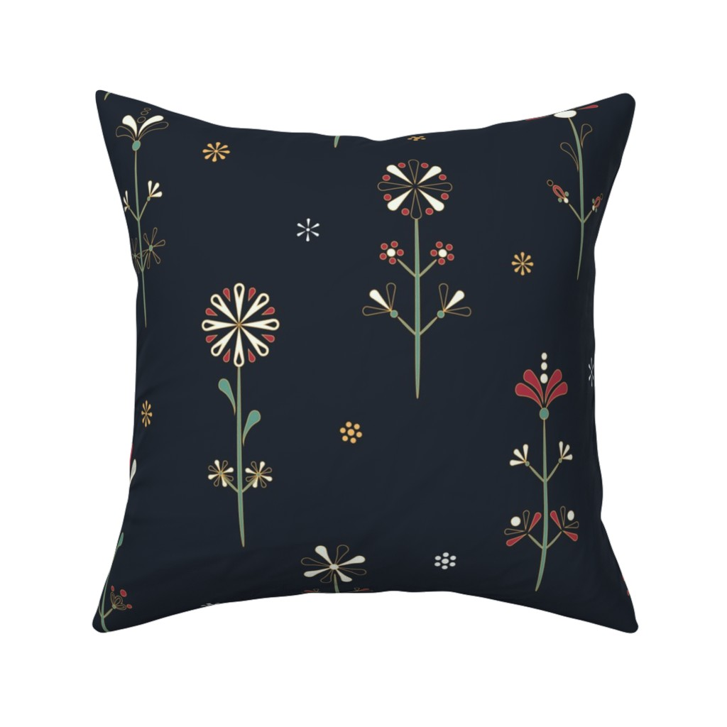 Catalan Throw Pillow featuring Pysanky Folklore Florals by aga_bell_pattern_design