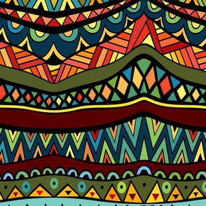 Fancy ethnic multicolored pattern with abstract geometric forms