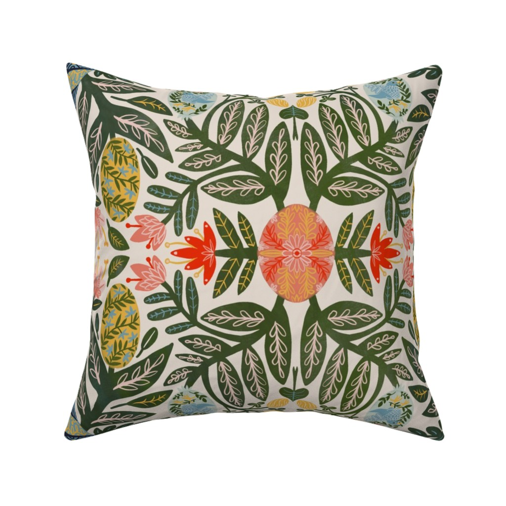 Catalan Throw Pillow featuring Pysanky Eggplant Damask by samantha_dolan