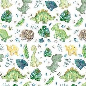 "4"" Green & Blue Baby Dinosaurs / White - Version 2"