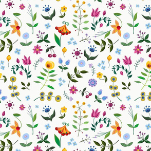 Vintage floral pattern with hand drawn fancy flowers