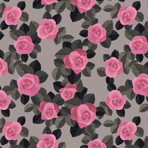 Vintage pattern with dark roses