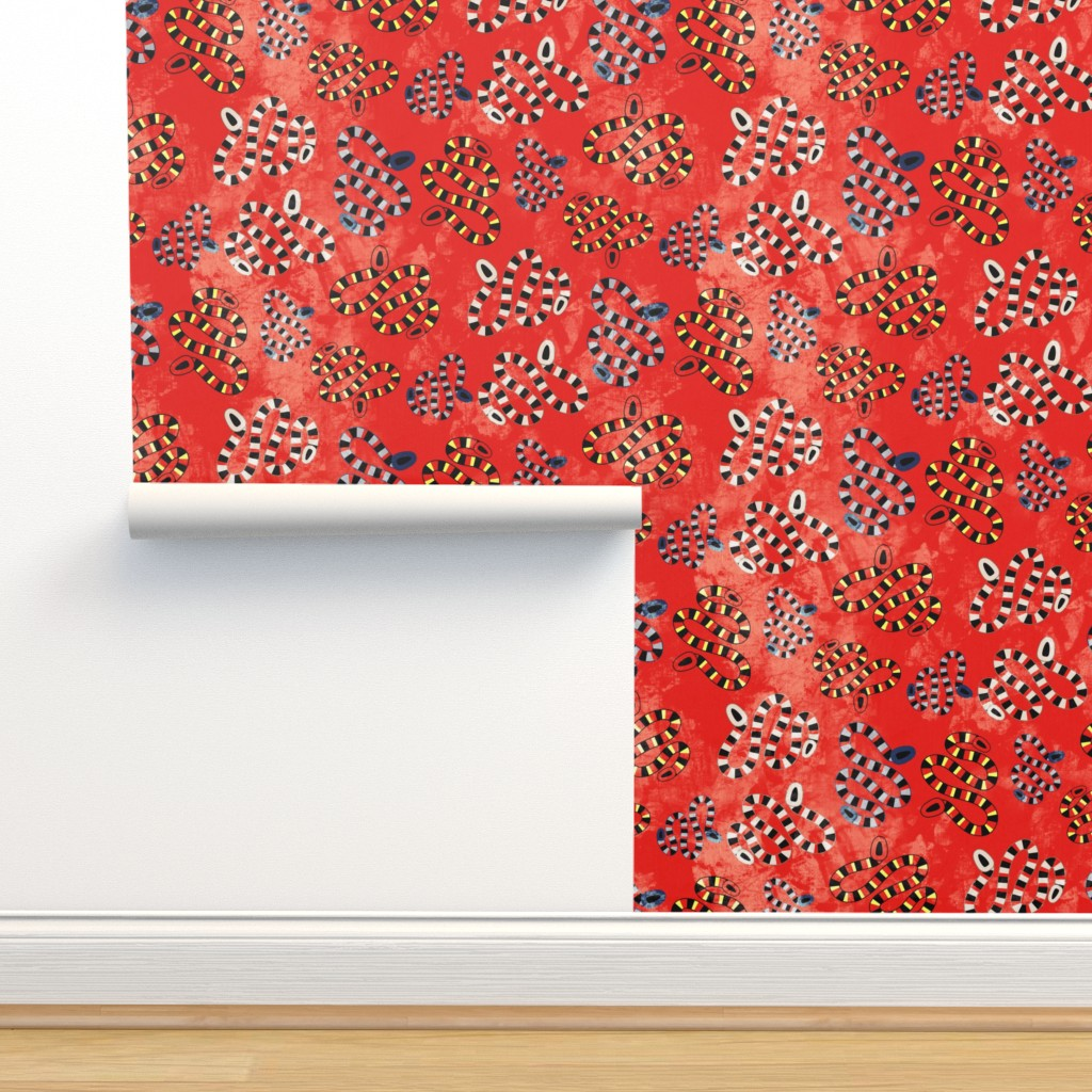 Isobar Durable Wallpaper featuring 19-03T Marine Nautical Snake Red Gray Black by misschiffdesigns