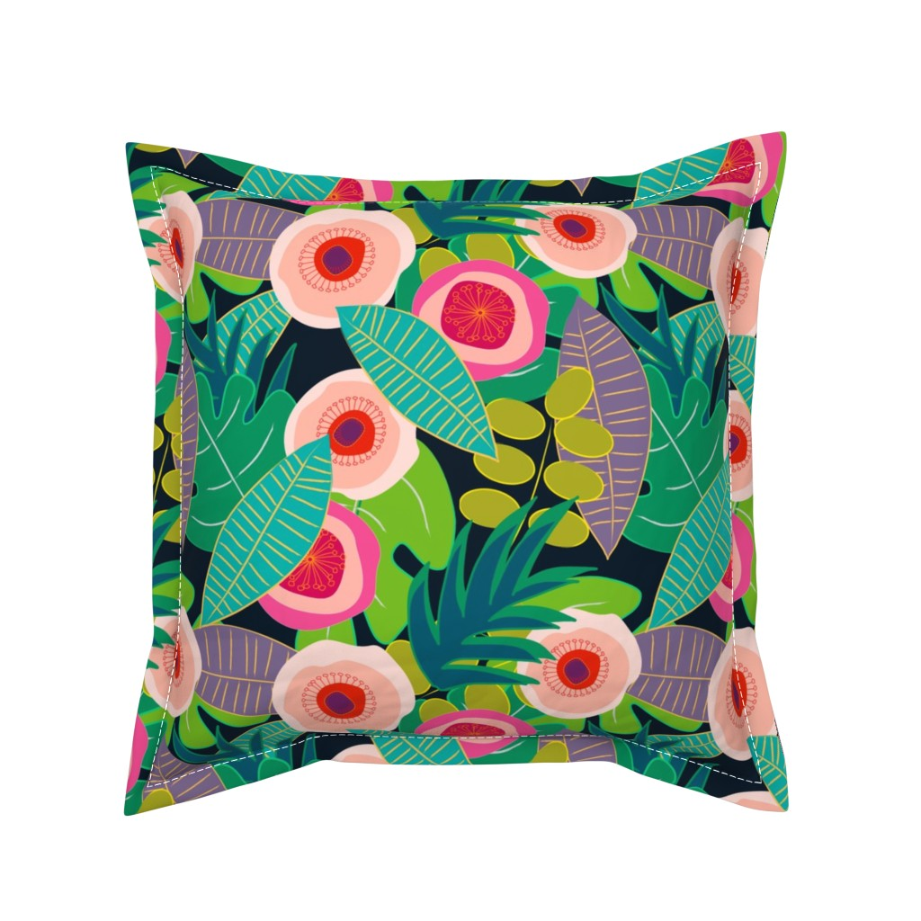 Serama Throw Pillow featuring In Bloom on black by mirimo_design