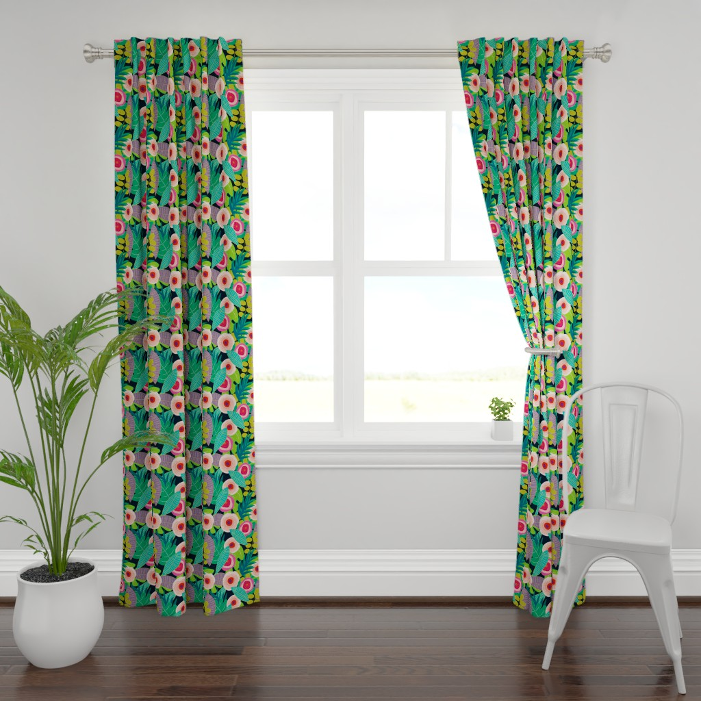 Plymouth Curtain Panel featuring In Bloom on black by mirimo_design