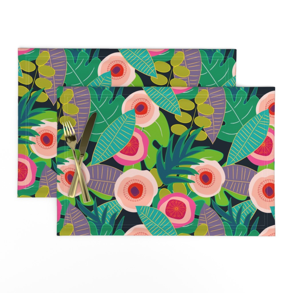 Lamona Cloth Placemats featuring In Bloom on black by mirimo_design