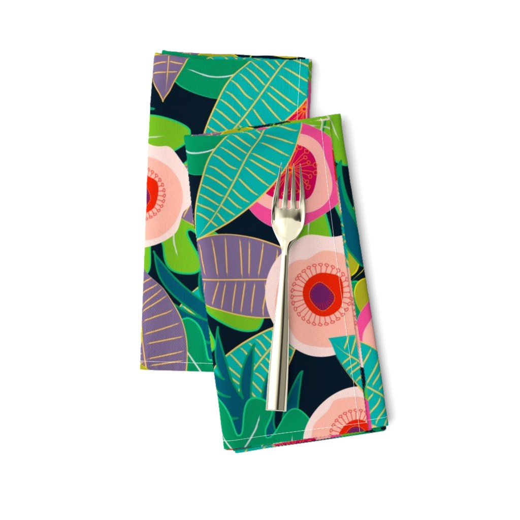 Amarela Dinner Napkins featuring In Bloom on black by mirimo_design