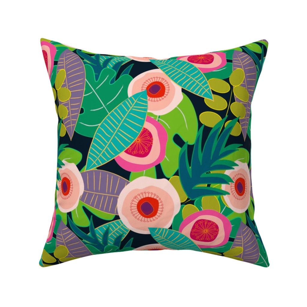 Catalan Throw Pillow featuring In Bloom on black by mirimo_design